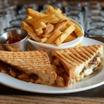Grilled Cheese sandwich - smoked mozza, brie and caramelised onions