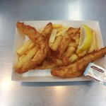 Fresh Flathead tails with chips, lemon and Tartare sauce...   Have them in a thin crisp batter o