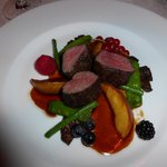 Reindeer with local vegetables and carmelized peaches