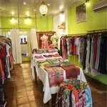 inside the boutique: many beautiful and unique garments that reflect Bali
