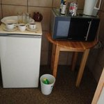 The fridge, kettle and microwave
