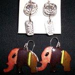 Silver clay earrings - enamelled elephant earrings