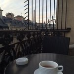 Having our coffee / hot chocolate on the terrace