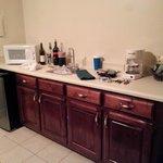 Mini-Fridge, sink, microwave, coffee pot