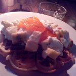Hot Waffles with Yogurt and Fruits