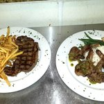 Must try Steak Frites with Fries & Lamb with sautéed Green Beans & Jasmine Rice the perfect gril