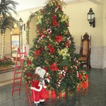 Christmas decorations in lobby.