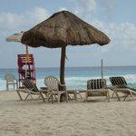 Lifeguard chair and Palapa.