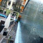Water wall at pool