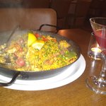 beautiful meat paella and cocktail