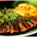 GRILLED PORK LOIN STEAK /With mix leaf salada, chips and demi sauce