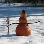 An early snow inspires a Halloween Snowman!