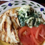 Protein Breakfast - grilled chicken, scrambled egg whites, spinach and tomato