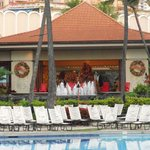 Check-in area overlooking the pool