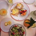 crab cake eggs benedict delish salad and drinks