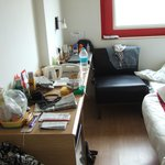 2 single beds with 3rd requested (at end), fridge, desk