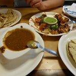 Tikka paneer, dahl, papads and a garlic parantha