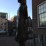 Anne Frank statue, down the block from her house.