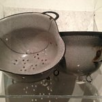 German helmets made into cooking pots by the Resistance.