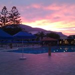 Sunset over the main pool
