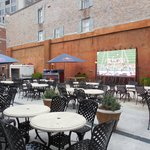 Outdoor seating and TV