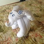 Elephant made out of shower towels left by maids