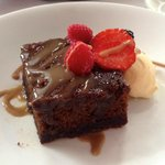 Sticky Toffee Pudding with fresh berries