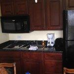 Kitchen with regular fridge