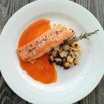 Salmon, Tomato Purée with Bubble & Squeak
