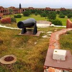 "from the top perimeter walking trail on Fort Jefferson, looking down into the ""parade"" grounds"