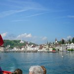 Leaving Luzern with the boat