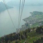 Riding the gondola down to Weggis