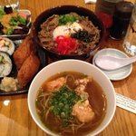 Curry soba, karage chicken and gyudon