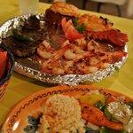 Steak, lobster and shrimps