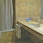 Large bathroom with hair dryer