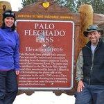 Historic marker of Palo Flechado Pass with Stuart and Jeannette.