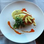 crab cake with Remoulade sauce, arugula, photo by Mike Keenan