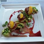 scallops with crushed avocado and sweet peas, photo by Mike Keenan