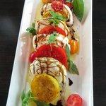 tomato salad with buffalo milk mozzarella, photo by Mike Keenan