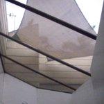 Atrium roof in bathroom