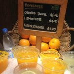 Fresh orange juice - Pricy! You could buy a bag of 6 oranges with this price.
