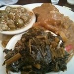 Smothered Chicken, stewed okra and greens!