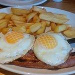 Gammon, chips and very pretty eggs