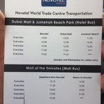 Free shuttle from Novotel to Malls - timing