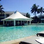 Pool side with swim up bar