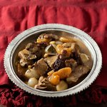 Mutanjene (1539) Braised leg of lamb stewed with apricots, 'Rezaki' raisins and almonds...