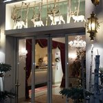hotel entrance decorated for the holidays