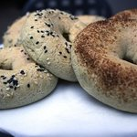 Gluten free yuca bagels baked every morning. Hurry they never last long.