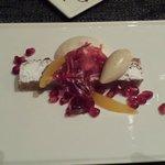 Chestnut cake with pomegranate seeds