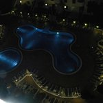 Pool area at night from our room